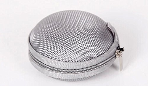 Noarks Amplifying Egg Shape Portable Earphone / Usb Cable / Mp3 Smart Mesh Bag Mobile In-Ear Headset Stereo Wired Sport Bag Holder Pouch Hold Box Pocket Hard Hold Protection Hard Eva Carrying Case/Bag (F-Silver)