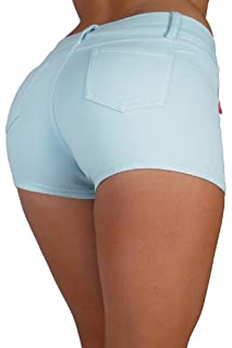 Basic Short Shorts Premium Stretch French Terry Moleton With a gentle butt lifting stitching in Crystal Blue Size M