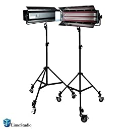 Limostudio Photography Photo Video Studio Digital Light Fluorescent 2-Bank Barndoor Light Panel Kit with 6pcs Caster Wheels, AGG1213