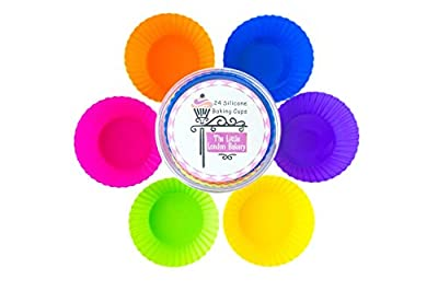 Silicone Cupcake Liners - Silicone Baking Cups - 24-Pack - By The Little London Bakery - These Reusable Silicone Molds Ensure You Never Need Pay For Paper Cups Again! - Cupcake Wraps That Are Dishwasher Safe - Six Vibrant Colored Silicone Baking Molds - F