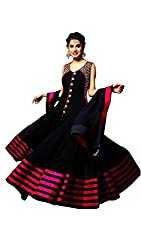 Mandani Fashion women's Fuax Georgette Party Wear Unstitched dress material(SF342_Black color)