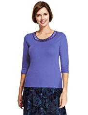Classic Pure Cotton Satin Neckline Beaded Top with StayNEW™
