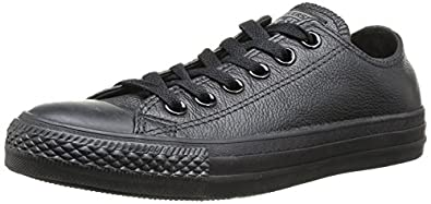 black leather converse sneakers