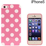 iphone 5 Trendy Designer Style Pink and White Polka dot Large spotty Case by iM