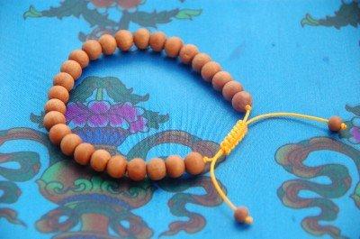 Tibetan Sandalwood Wrist Mala/ Bracelet for Meditation Yellow String