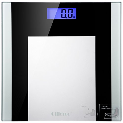 Ollieroo® Bathroom Scale Best Non Slip 400lb Precision Digital Body Weight Scale with Tempered Glass Blue LCD Display Smart Step-on (Dial Triple Action compare prices)