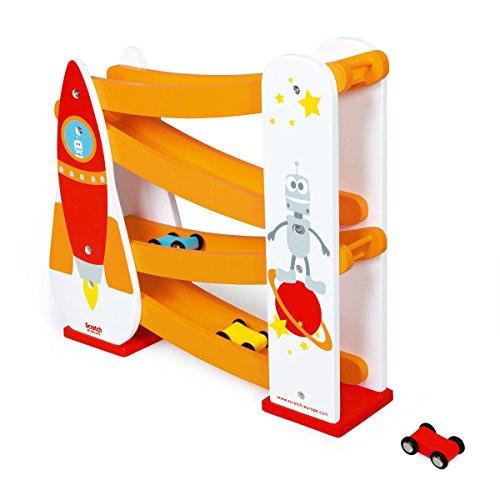 Rennbahn / Rocket die Rennbahn aus buntem Holz / Die kleinen Flitzer rasen die Bahn herunter und fesseln die Augen der Zuschauer / Kugelbahn aus Holz. in bunten Farben, Rakete , Weltall , mit 3 kleinen Autos, Freilauf, ca. 29 x 10 x 29 cm