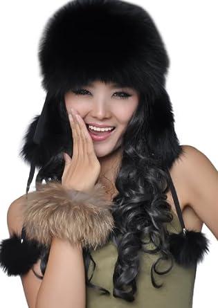Women's Genuine Fox Fur Russian Ushanka Hats Multicolor (Black)