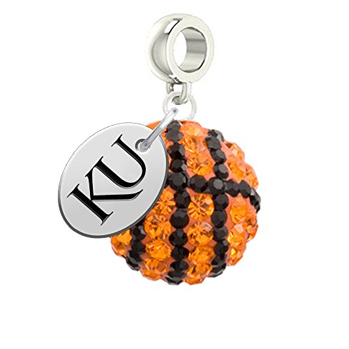 University of Kansas Jayhawks Basketball Drop Charm Fits All European Style Bracelets