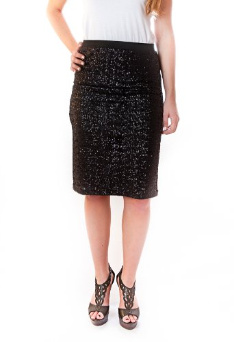 Velvet by Graham and Spencer Eve Sequin Pencil Skirt - Black - M Image