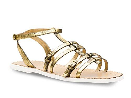 Sandali bassi Car Shoe in pelle invecchiata color oro - Codice modello: KDX25K 3F9C F0056 - Taglia: 39 IT