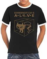 Touchlines Herren Kontrast T-Shirt - Schroedingers Cat Is Alive Ringer