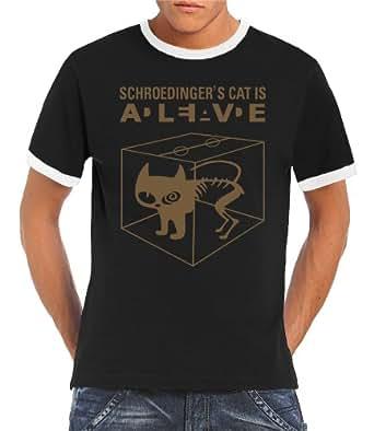 Touchlines Herren Kontrast T-Shirt Schroedingers Cat Is Alive Ringer Kontrast, black/gold, S, B220213RG