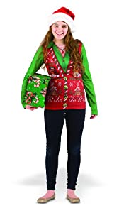 Faux Ladies Ugly Christmas Vest Costume T-Shirt Adult from Faux Real Shirt