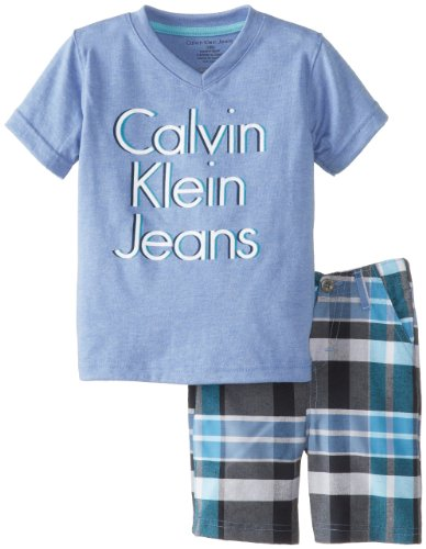 Calvin Klein Baby-Boys Infant Tee with Plaided Short, Blue, 12 Months
