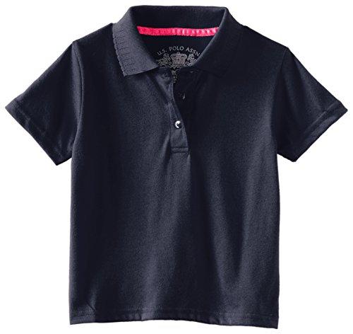 U.S. Polo Association  Little Girls'  Short Sleeve Polo With Pointelle Collar, Navy, Medium/5/6