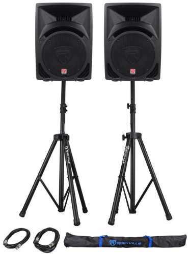 "Package: (2) Rockville Rpg10 1200 Watt 2-Way Dj/Pa Powered Speakers With A 10"" Woofer And A 2"" Voice Coil + Rockville Rvss2-Xlr Pair Of Adjustable Pro Speaker Stands + (2) Xlr Male To Female Cables + Carrying Case"