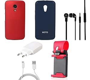 NIROSHA Cover Case Charger Headphone Mobile Holder for Motorola G2 - Combo