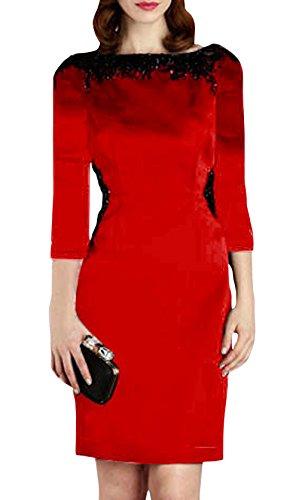 Dning Women'S Slim Round Collar Beading 3/4 Sleeve Short Wrap Dresses Red Xl
