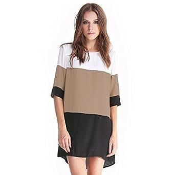 Vestidos Party Straight Dresses Color Block Half Sleeve Vintage