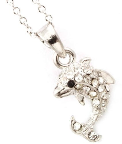 Adorable Dainty Silver Plated X-Small Dolphin Necklace with Clear Embellished Crystals