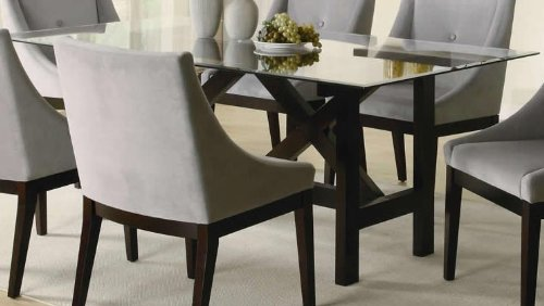 Coaster Alvarado Rectangular Dining Table with Glass Top in Cappuccino Finish