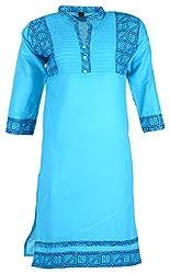 Fashion Web Women's Cotton Regular Fit Kurta (Blue, X-Large)