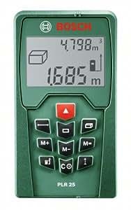 Bosch Laser-Entfernungsmesser PLR 25 + Schutztasche (0,05-25 m Messbereich, +/- 2 mm Messgenauigkeit)