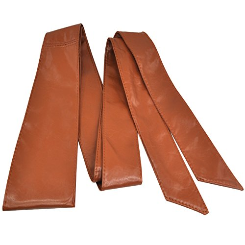 Topro Stunning PU Leather Womens Wrap around Tie Corset Cinch Waist Wide Belt Band Color Brown