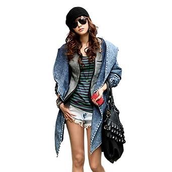 Zicac - Fashion Jean Blouson Manteau Capuche-Veste en jean-Coat Hoodie Populaire - Femme