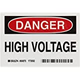"Brady Black And Red On White Color Admittance Sign, Legend ""Danger, High Voltage"""