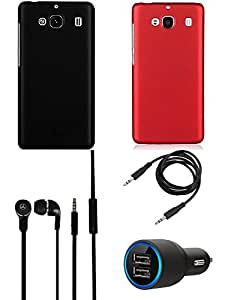 NIROSHA Cover Case Car Charger Headphone for Xiaomi Mi2 - Combo