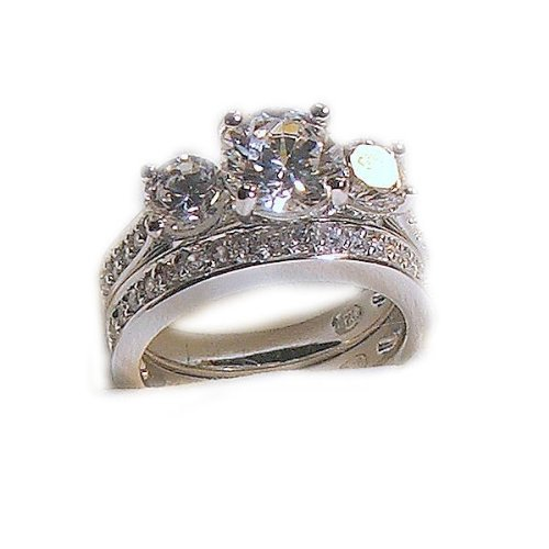 Large Antique Estate Style 3 Stone Cz Wedding Ring Set 14k White Gold 925 Sterling