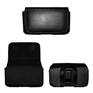 Executive Black Horizontal Leather Side Case Pouch with Belt Clip and Belt Loops for HTC Evo 4G [Accessory Export Brand Packaging]