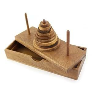 Der Turm von Hanoi, Wanderturm Holz Puzzle Knobel IQ-Spiel