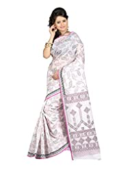 Fabdeal White Cotton Printed Saree Sari Sarees