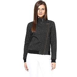 Hypernation Black Color Causal Jacket For Women