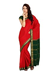 Kaushika Crepe Mysore Traditional Silk Saree KC1301_RED_BOTTLEGREEN