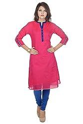 Amour Women's Cotton Silk Kurti (681_FUSIA_L_Pink_Large)