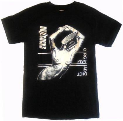 (バズコックス)BUZZCOCKS orgasm addict ブラック プリント 限定 半袖 クルーネック ROCK メンズTシャツ S