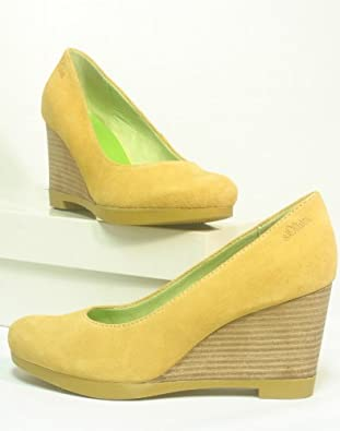 oliver leather high heels yellow with wedge heel size 9 uk amazon