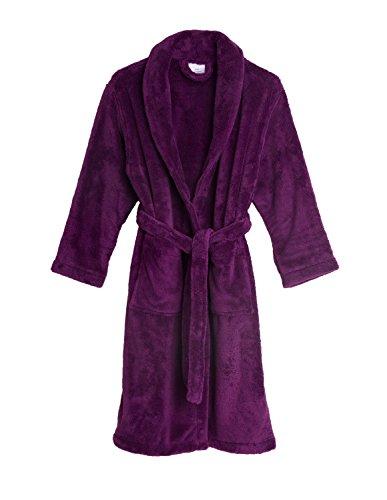 TowelSelections Big Girls' Plush Shawl Robe Soft Fleece Bathrobe Size 10 Sparkling Grape