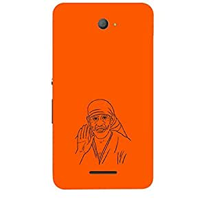 Skin4gadgets Shirdi Sai Baba - Line Sketch on English Pastel Color-Orange Phone Skin for XPERIA E4