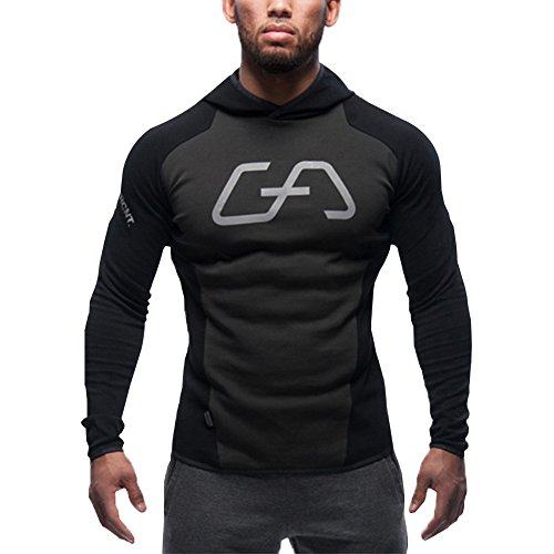 Lendoo Felpa con cappuccio felpa, palestra, Fitness, BODY building Sport Felpa con cappuccio per Running, Jogging Walk Out Ciclismo Indoor & Outdoor o solo usura quotidiana Black Large