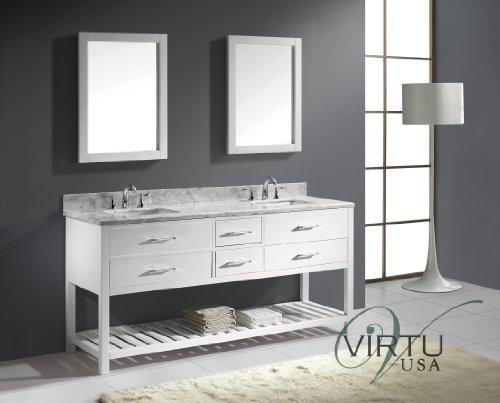 Virtu Usa Md-2272-Wmsq-Wh Transitional 72-Inch Double Sink Bathroom Vanity Set, White