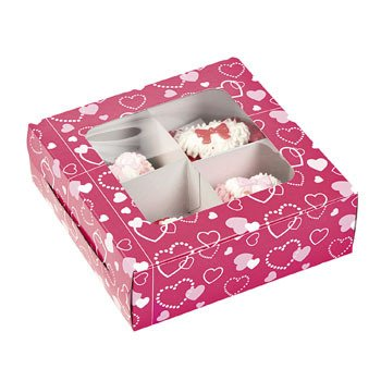 Buy Cardboard Valentine Four Section Treat Boxes 6 Pcs