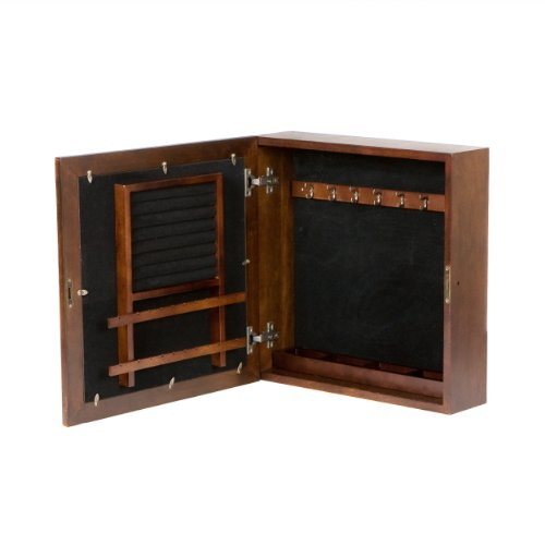 Espresso Square Wall Mount Jewelry Armoire