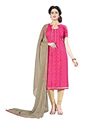 PS ENTERPRISE Pink Chanderi Unstitched Dress Material