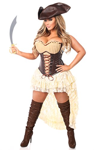 Daisy Corsets Women's Plus-Size Top Drawer 4 Piece Pirate Captain Costume, Brown, 6X