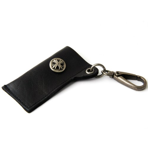 Leather Lighter Holder Key Chain W/Cross(Black)